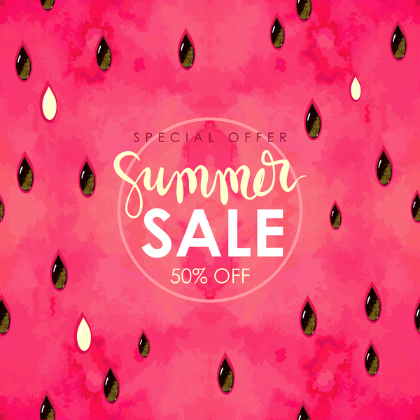 """""""summer sale"""" hand written lettering. Vector illustration with watercolor paint textured watermelon background."""