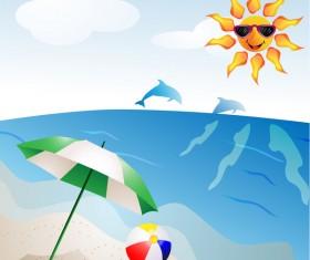 Summer travel background with beach and cartoon sun vector 01
