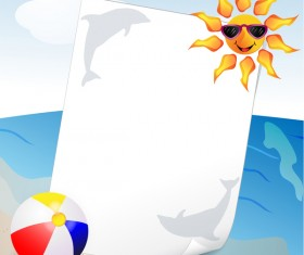 Summer travel background with beach and cartoon sun vector 02