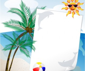 Summer travel background with beach and cartoon sun vector 03