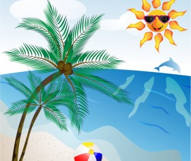 Summer travel background with beach and cartoon sun vector 04