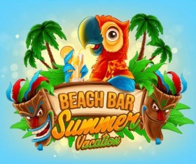 Summer vacation beach bar background vector 01