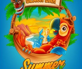 Summer vacation beach bar background vector 02