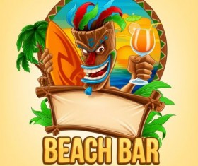 Summer vacation beach bar background vector 03