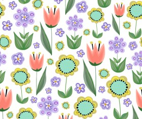 Sunflower with purple flower seamless pattern vectors