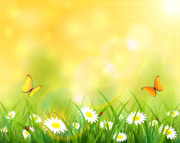 Grass and flowers background Artwork Sunny Background With Grass And Flowers Vector Design Freedesignfile Sunny Background With Grass And Flowers Vector Design Free Download
