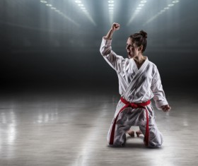Taekwondo athlete cheering Stock Photo