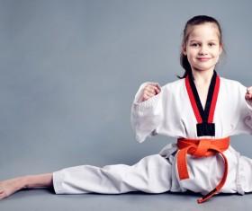 Taekwondo little girl Stock Photo