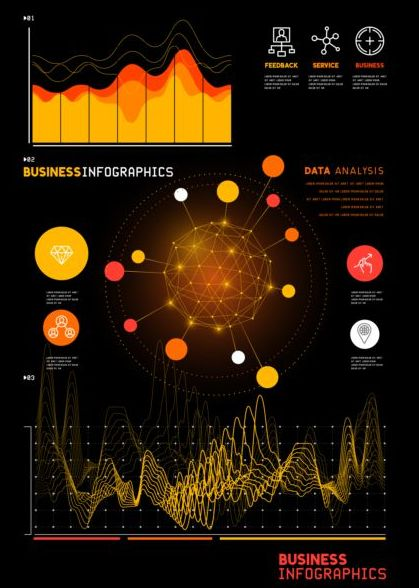 Technical element with business infographic template vector 01