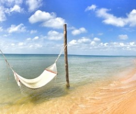 The hammock on the beach Stock Photo