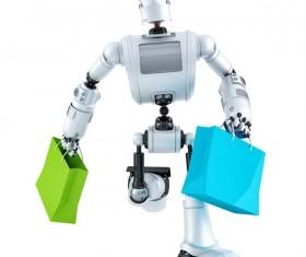 The robot runs Stock Photo