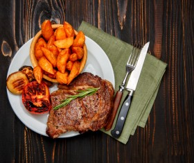 The steak with vegetables Stock Photo