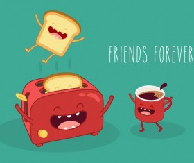 Toasters with coffee cartoon vector