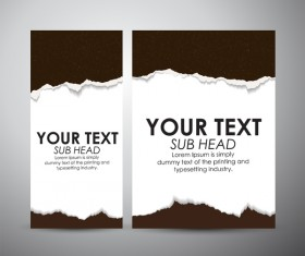 Torn paper brochure cover and vertical banner vector 04