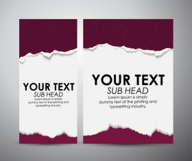 Torn paper brochure cover and vertical banner vector 07