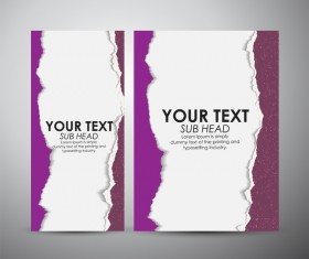 Torn paper brochure cover and vertical banner vector 12