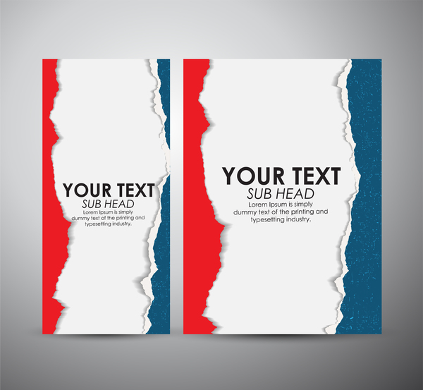 Torn Paper Book Cover ~ Torn paper brochure cover and vertical banner vector