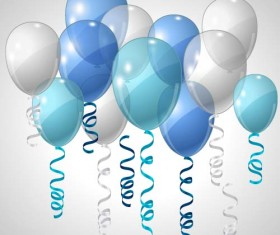 Transparent colored balloons with ribbon vector