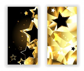 Two Banners with Black Stars vector