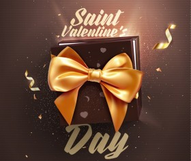 Valentine day card with golden bow vector