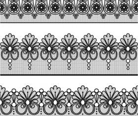 Vector lace borders black design 05