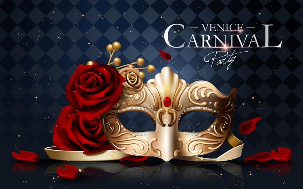 Venice carnival masquerade vector poster template 01