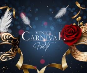 Venice carnival masquerade vector poster template 02