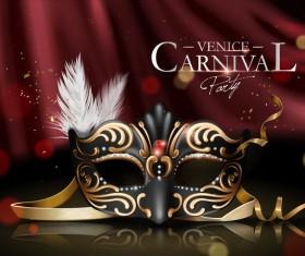 Venice carnival masquerade vector poster template 03
