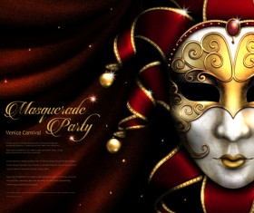 Venice carnival masquerade vector poster template 04