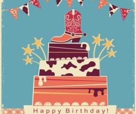 Vintage birthday party card vector