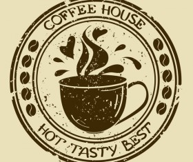 Vintage coffee house badge vector material