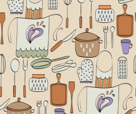 Vintage cooking pattern seamless vectors 01