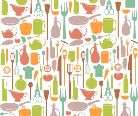 Vintage cooking pattern seamless vectors 02