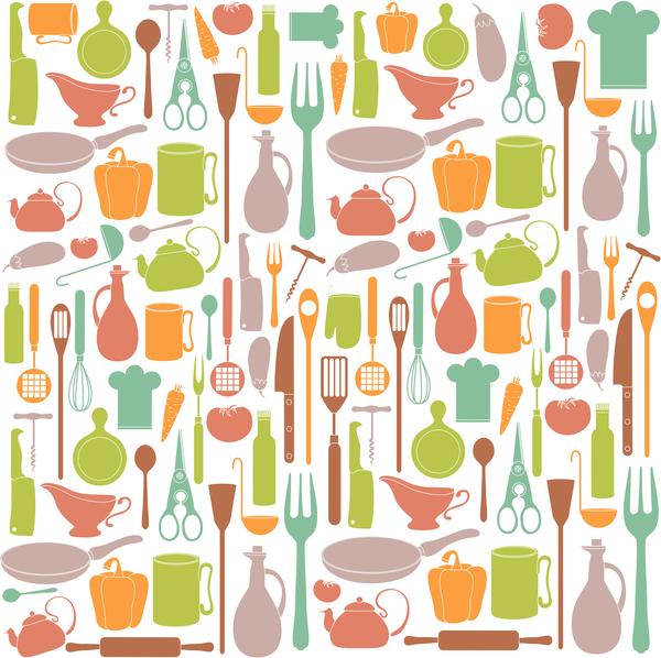 Vintage cooking pattern seamless vectors 02