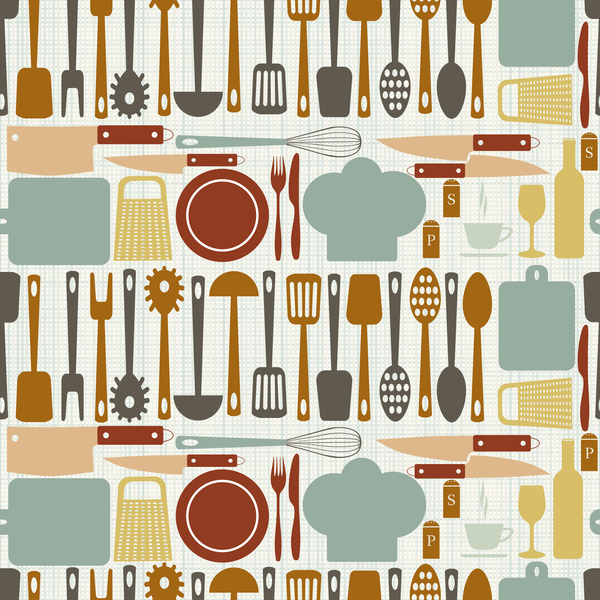 Vintage cooking pattern seamless vectors 03