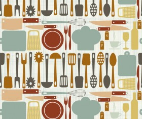 Vintage cooking pattern seamless vectors 10