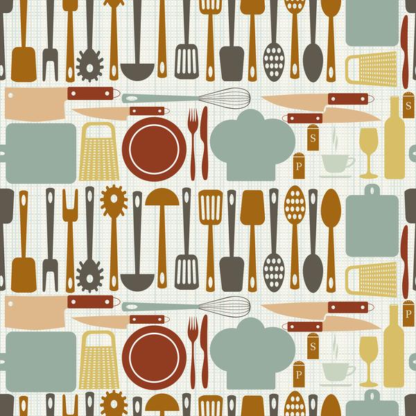 Vintage cooking pattern seamless vectors 10