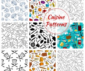 Vintage cooking pattern seamless vectors 04