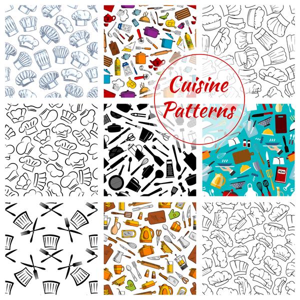 Vintage cooking pattern seamless vectors 04