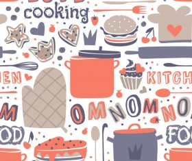 Vintage cooking pattern seamless vectors 05