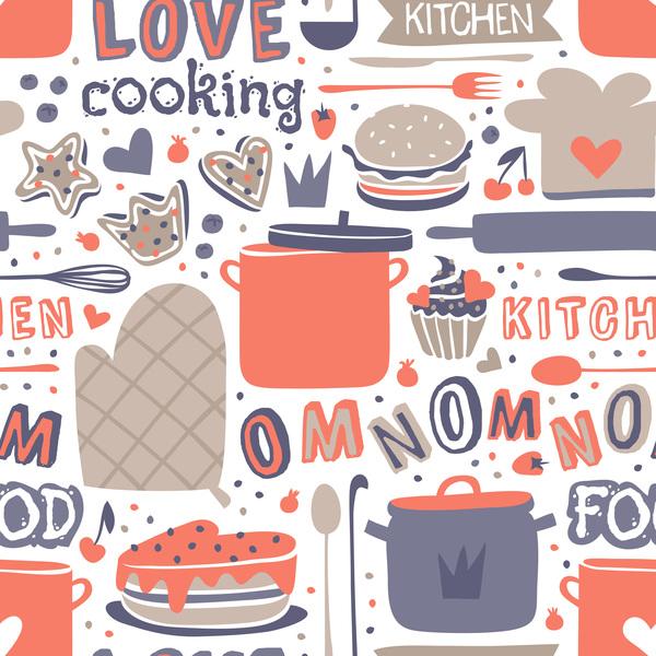 Vintage cooking pattern seamless vectors 05