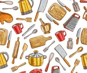 Vintage cooking pattern seamless vectors 06