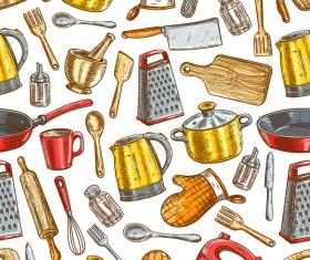 Vintage cooking pattern seamless vectors 07