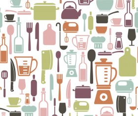 Vintage cooking pattern seamless vectors 08