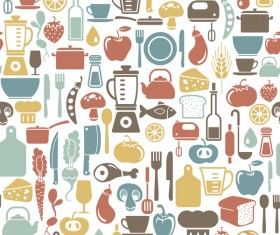 Vintage cooking pattern seamless vectors 09