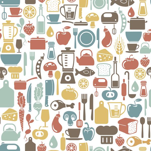 Vintage cooking pattern seamless vectors 09