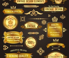 Vintage golden labels with badge and banners vector set