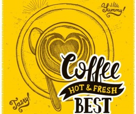 Vintage yellow coffee background vector 01