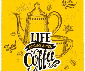 Vintage yellow coffee background vector 02
