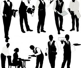 Waiter silhouette vector set
